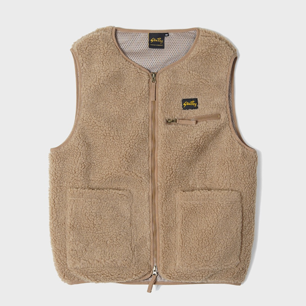 Fleece Liner Vest - Khaki Boa Fleece